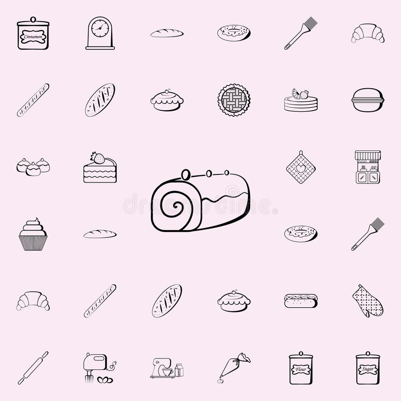 Rollenikone Bäckereishopikonen-Universalsatz für Netz und Mobile lizenzfreie abbildung