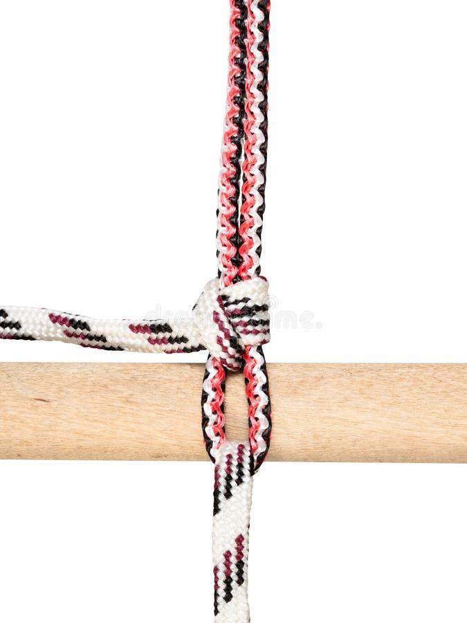 Rollenproblemknoten gebunden auf dem synthetischen Seil herausgeschnitten stockbilder