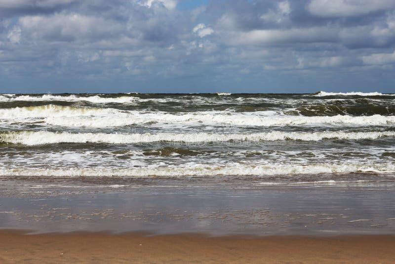 Rollenwellen in Richtung zum Strand lizenzfreies stockbild