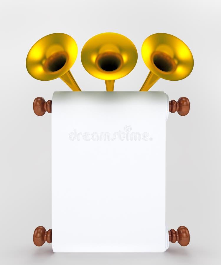 Rollepapier mit goldenen Trompeten vektor abbildung