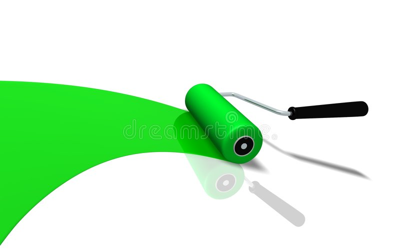 Roller. Green roller brush (3D rendered illustration stock illustration