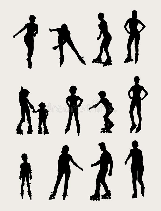 Roller Activity and Sport Silhouettes royalty free illustration