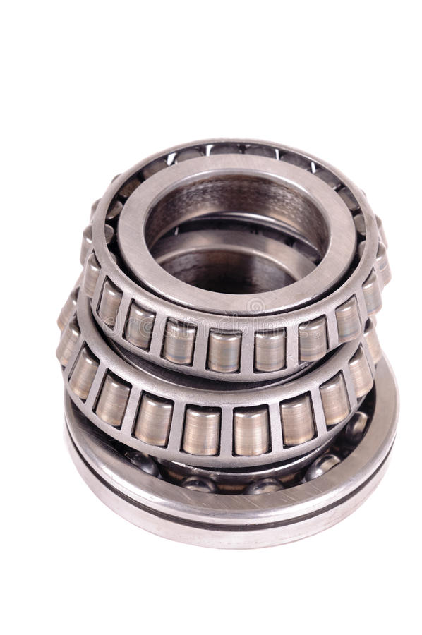 Roller bearings. Automotive roller bearings isolated on white royalty free stock photos
