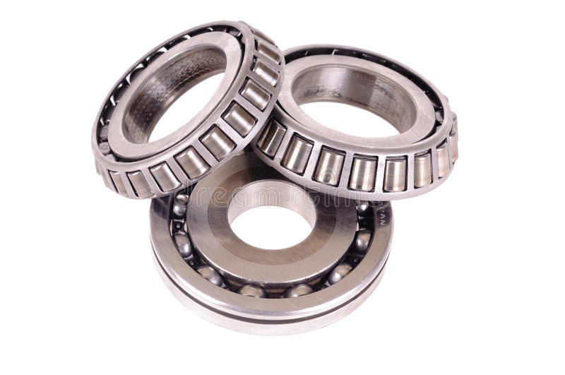 Roller bearings. Automotive roller bearings isolated on white royalty free stock images