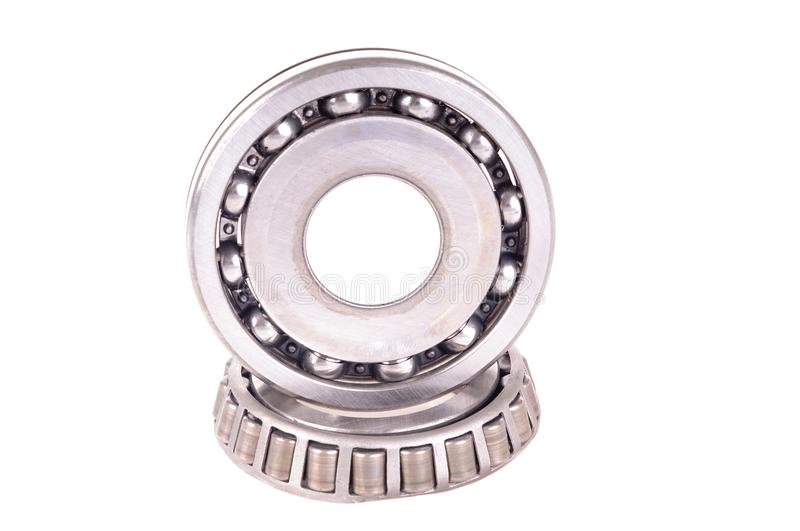 Roller bearings. Automotive roller bearings isolated on a white background stock images