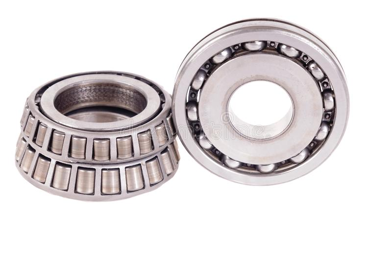 Roller bearings. Automotive roller bearings isolated on a white background stock photography