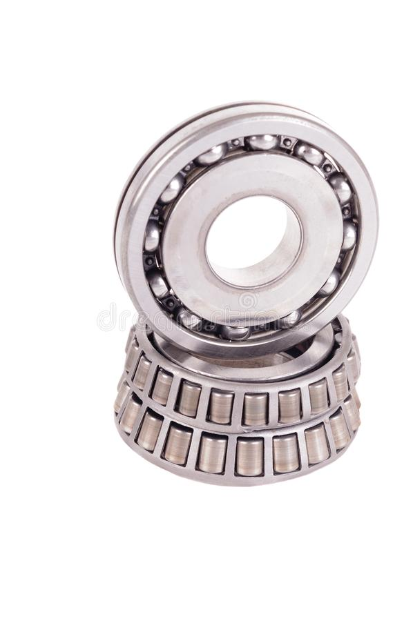 Roller bearings. Automotive roller bearings isolated on a white background royalty free stock image