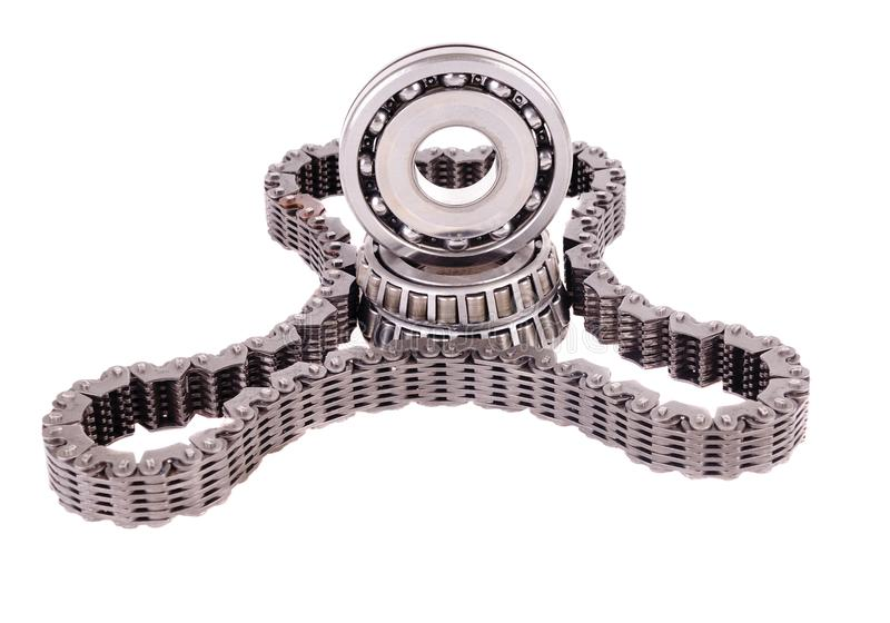 Roller bearings & drive chain royalty free stock photos