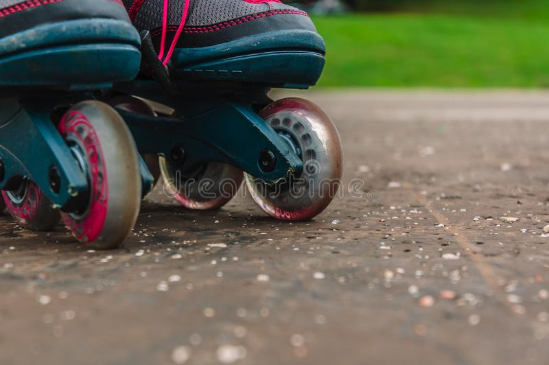 Roller blades on the street stock photo