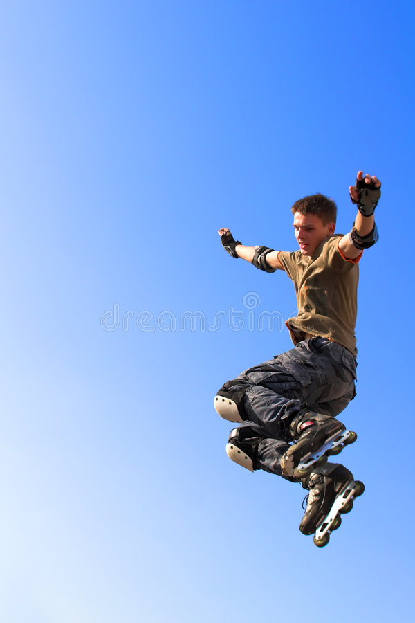 Free Roller Boy Jumping From Parape Royalty Free Stock Image - 3548116