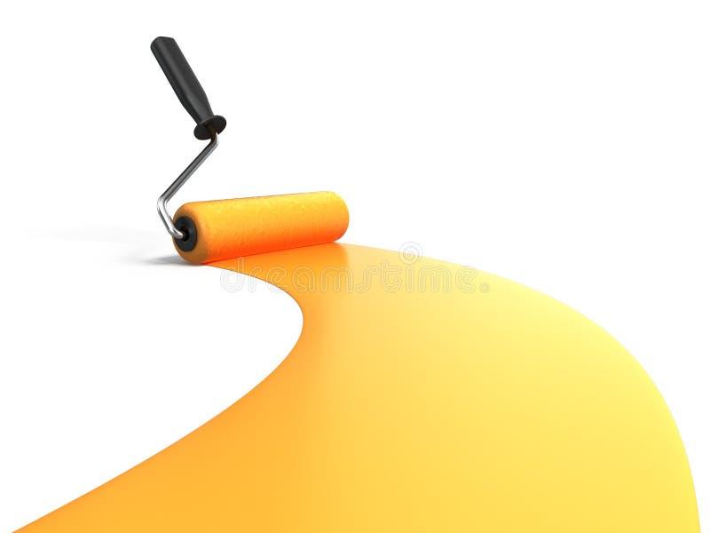 Roller brush. Painting orange on white stock illustration