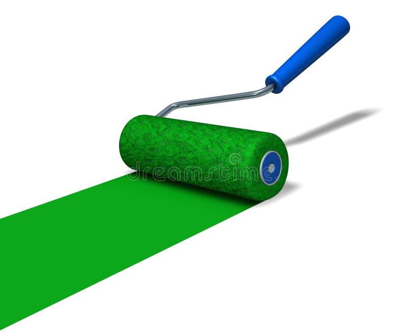 Roller Brush. Green roller brush in action (3D rendered illustration stock illustration