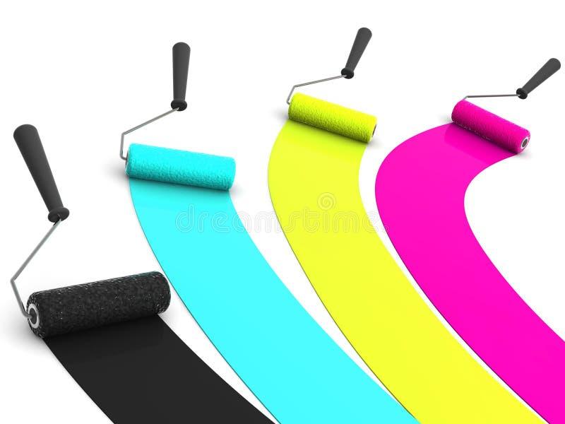 Roller brush. CMYK. RVery beautiful three-dimensional illustration. oller brush. 3d. CMYK stock illustration