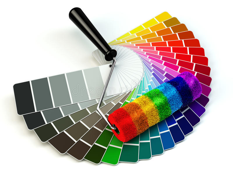 Roller brush and color guide palette in rainbow colors. stock illustration