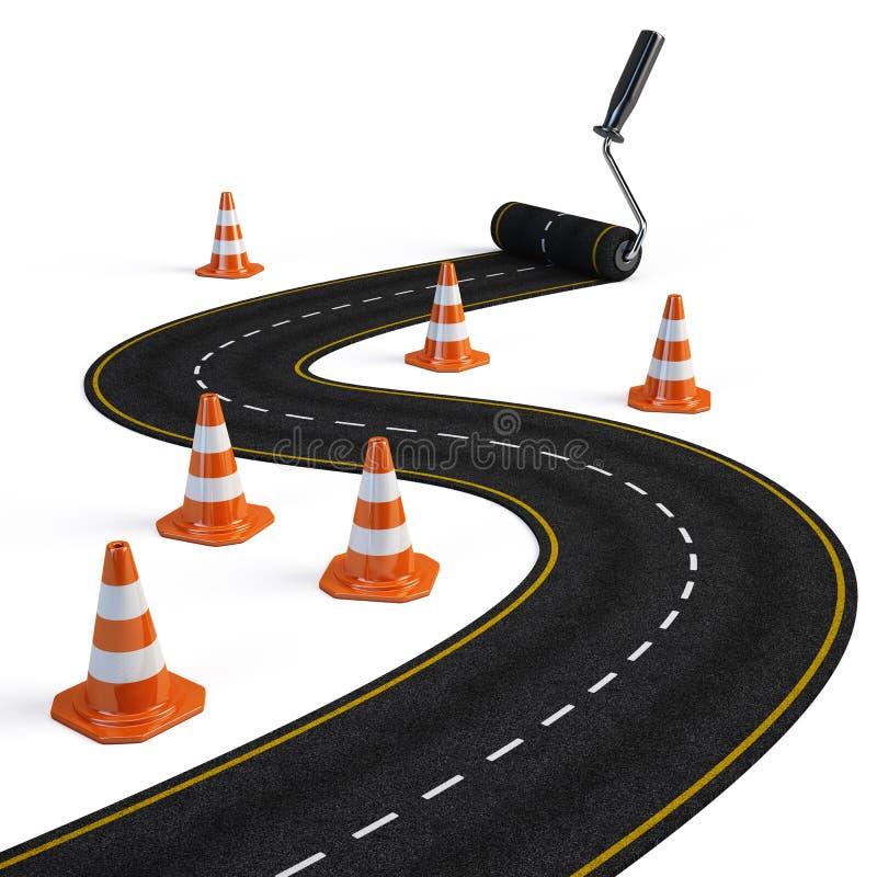 Roller brush painting road stock illustration