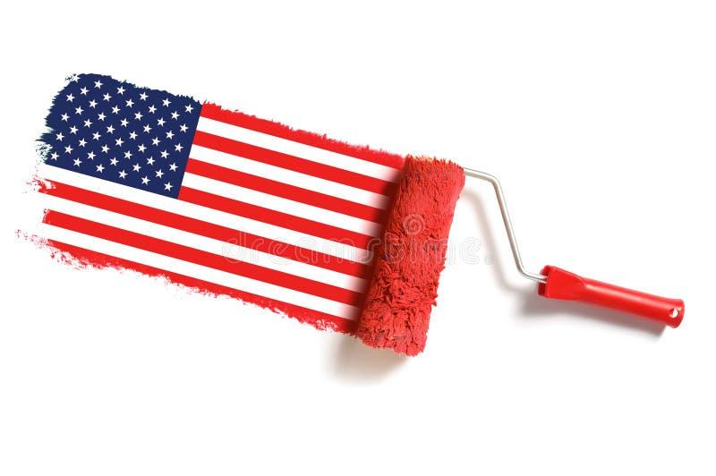 Roller Brush Usa Flag Stock Images