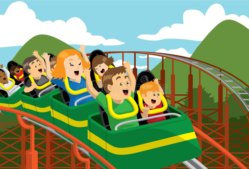Roller Coaster. Family riding on a roller coaster vector illustration