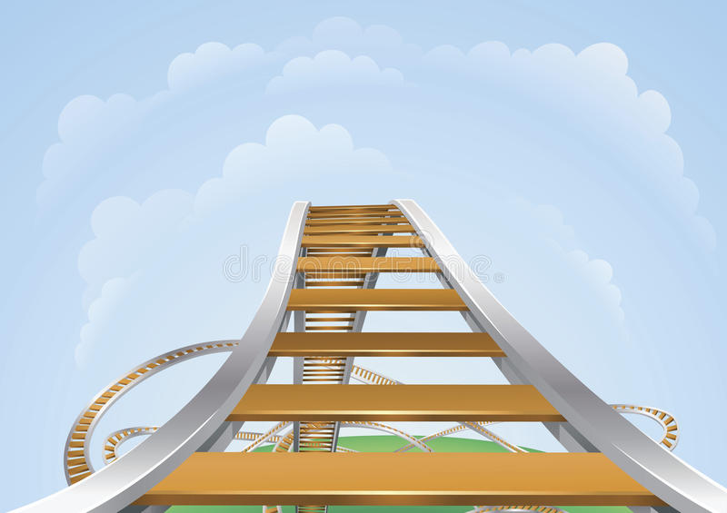 Roller coaster. Illustration of a roller coaster from the highest view. Conceptual highs and lows or fear and trepidation vector illustration