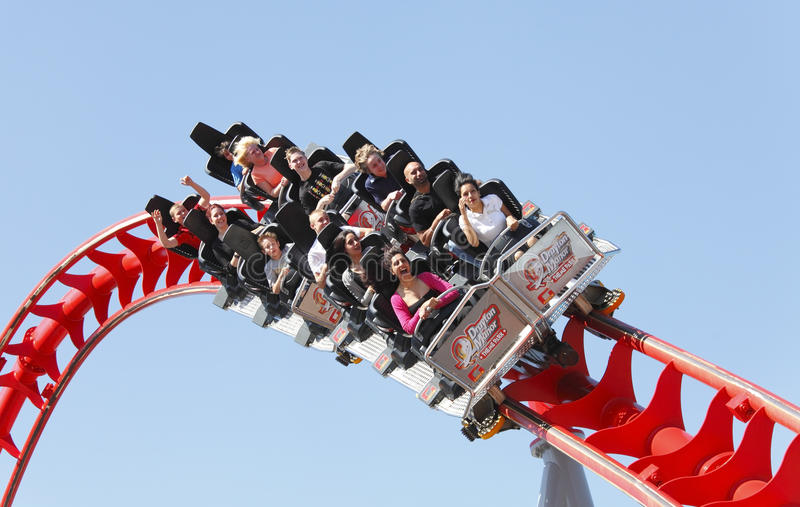 Roller coaster. Ride fun on family day out at the funfair Drayton Manor theme park, England