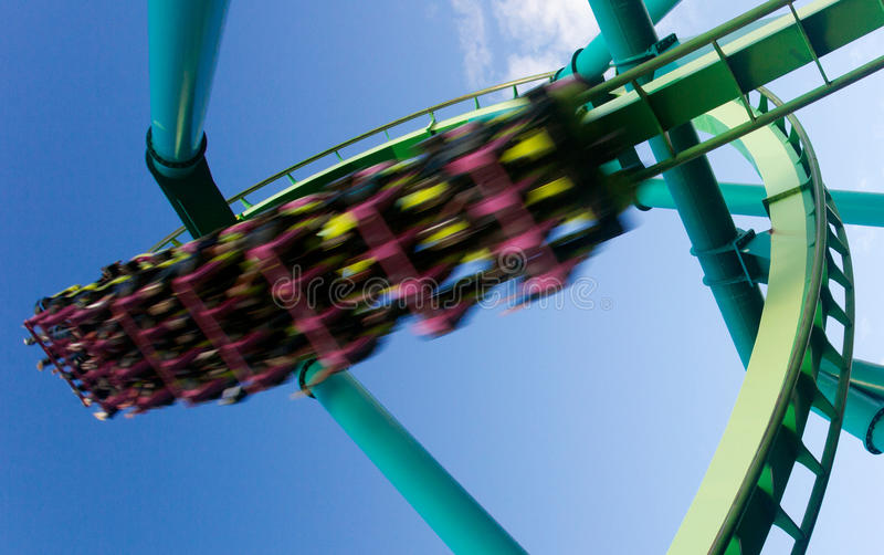 Download Roller Coaster In Amusement Park Stock Photo - Image: 21155602