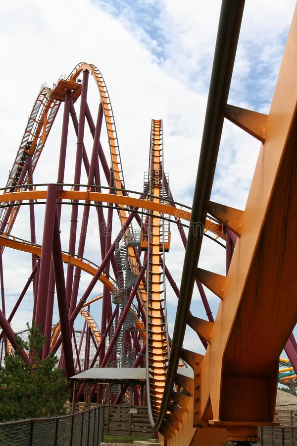 Roller coaster at amusement park royalty free stock image