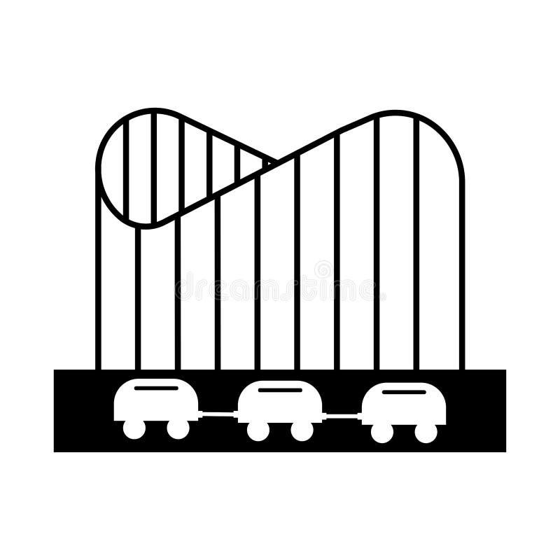 Roller coaster in amusement park sign. adrenalin. Eps ten vector illustration