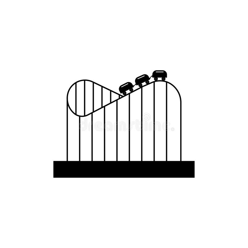 Roller coaster. Amusement park sign. Black icon royalty free illustration