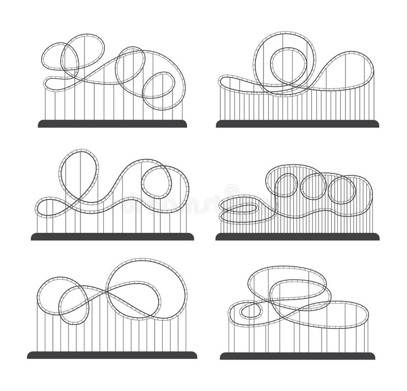 Roller coaster of amusement park silhouette set of vector illustrations isolated. royalty free illustration
