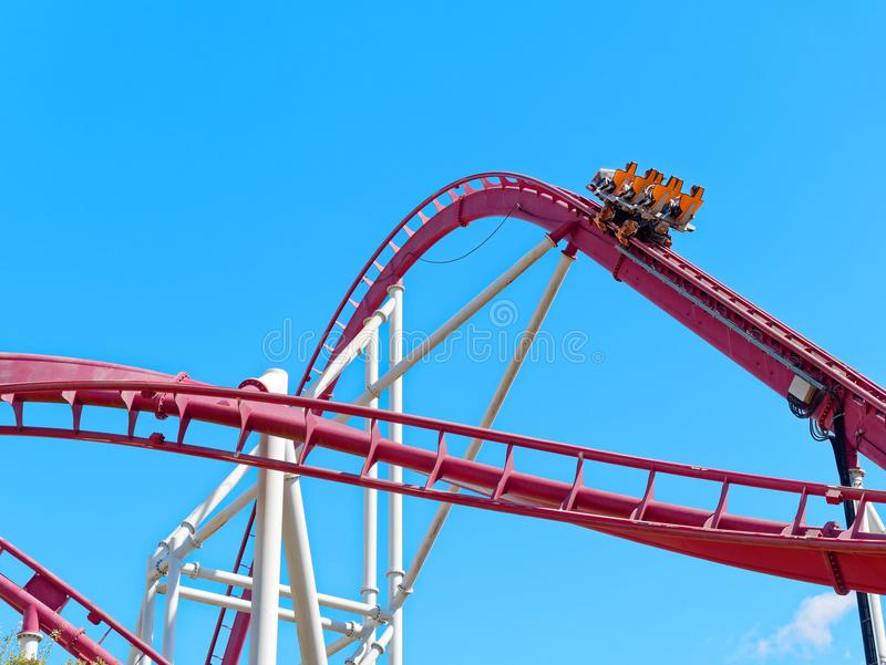 Roller coaster car going upward full speed royalty free stock photos