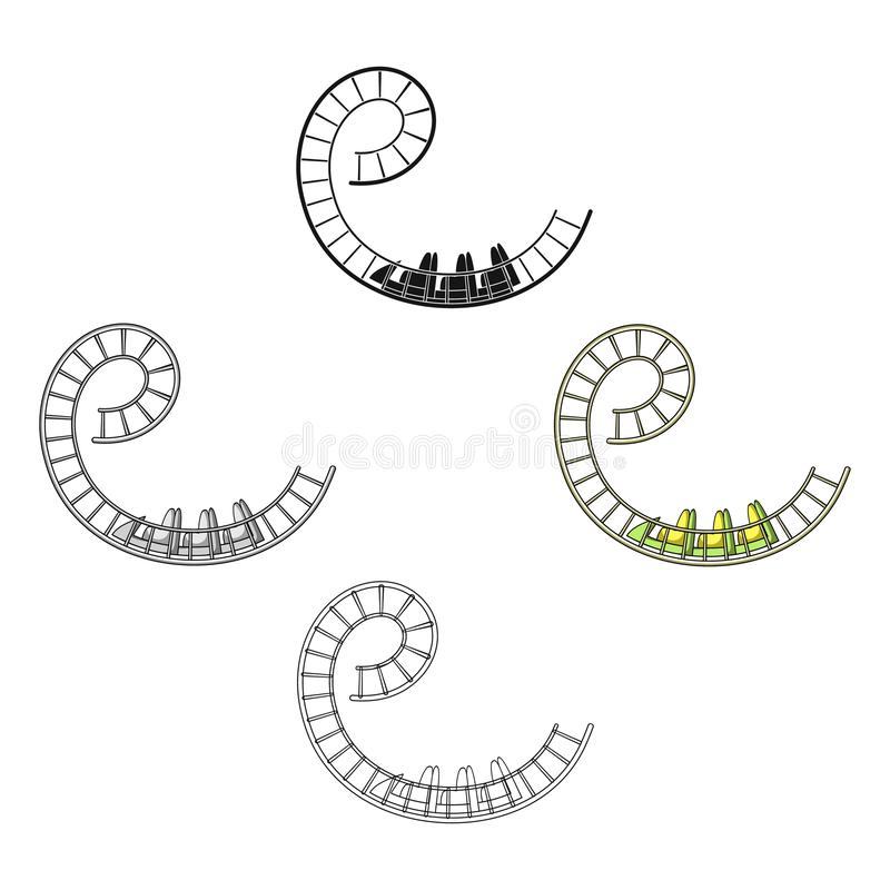 Roller coaster for children and adults. Dead loops, dangerous turns, terrible rides.Amusement park single icon in. Cartoon,black style vector symbol stock web stock illustration