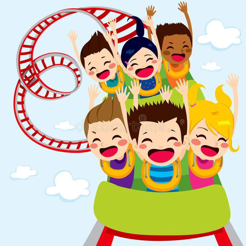 Roller Coaster Children. Happy children enjoy roller coaster ride screaming and having fun stock illustration