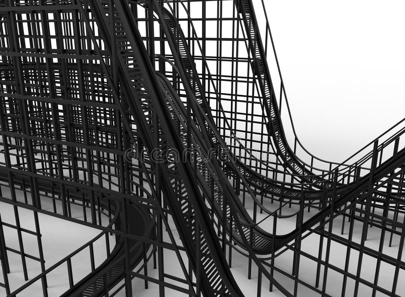 Roller coaster close-up. 3D rendered illustration of a roller coaster loops and heights. The roller coaster is on a white background with shadows royalty free illustration