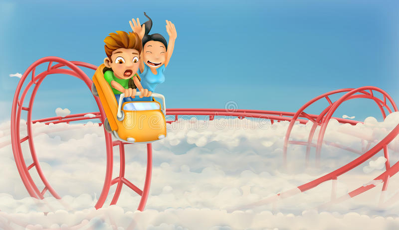 Roller coaster in the clouds. Vector background stock illustration