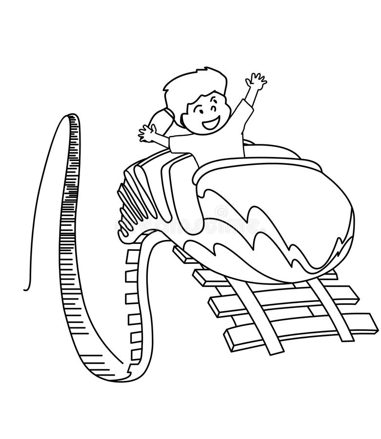 Roller coaster coloring page. Hand drawn roller coaster coloring page for kids royalty free illustration