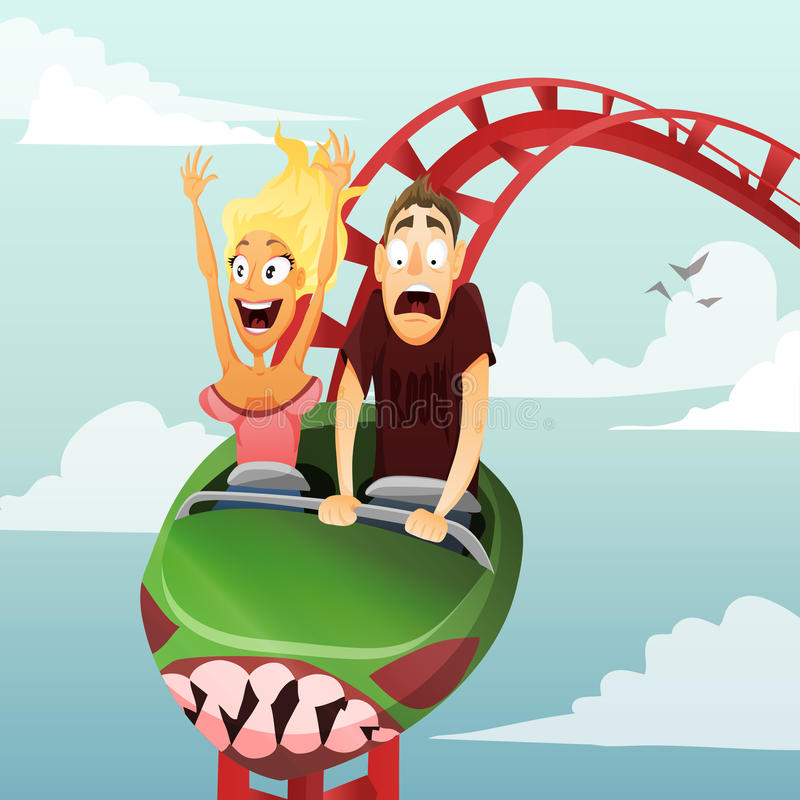 Roller-coaster. Couple have date in roller-coaster. Girl and boy stock illustration