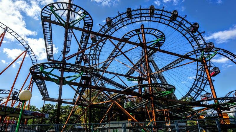 Roller coaster do parque do prater de Viena fotos de stock royalty free