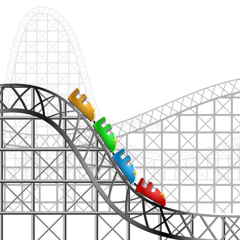 Roller coaster. With four cars stock illustration