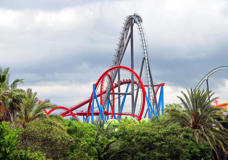 Roller Coaster. In funny theme park royalty free stock photos