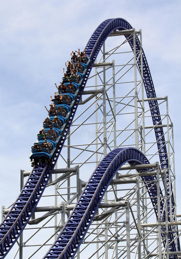 Roller coaster going up a hill royalty free stock images