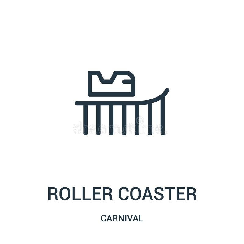 roller coaster icon vector from carnival collection. Thin line roller coaster outline icon vector illustration vector illustration