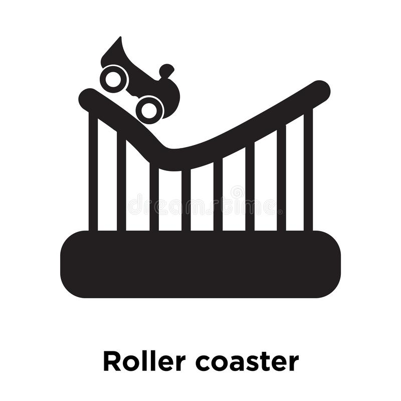 Roller coaster icon vector isolated on white background, logo co. Ncept of Roller coaster sign on transparent background, filled black symbol vector illustration