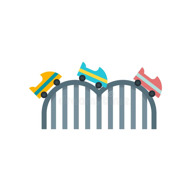 Roller coaster icon vector sign and symbol isolated on white background, Roller coaster logo concept stock illustration