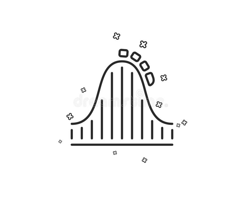 Roller coaster line icon. Amusement park sign. Vector stock illustration