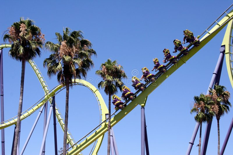Roller Coaster Ride. A rollercoaster with loops and curves royalty free stock images