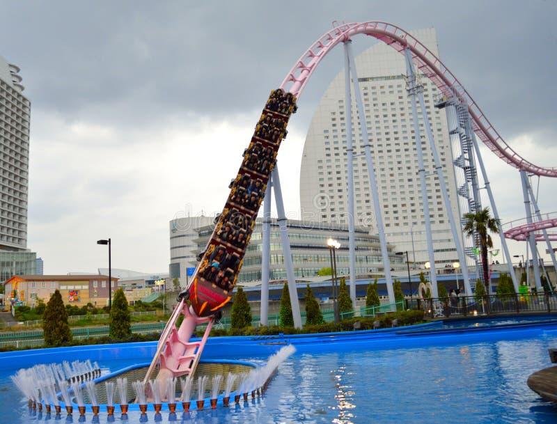 Roller Coaster Ride. Diving roller coaster Vanish in cosmoworld amusement park, Yokohama, Japan royalty free stock images