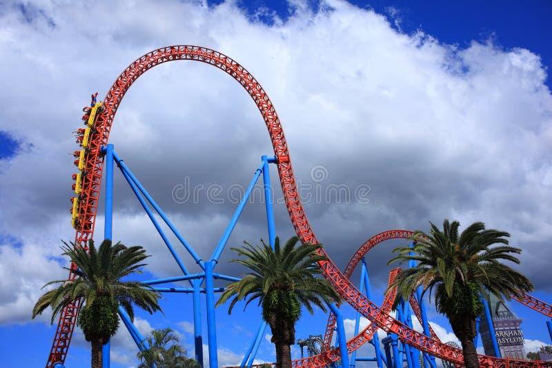 Superman Escape roller coaster ride drop stock photos