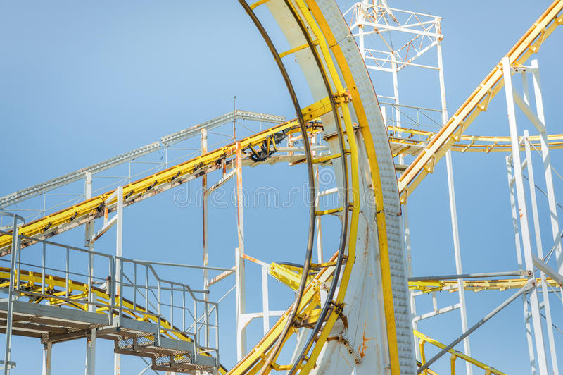 Roller coaster ride. Elements of a steel framed theme park ride stock image
