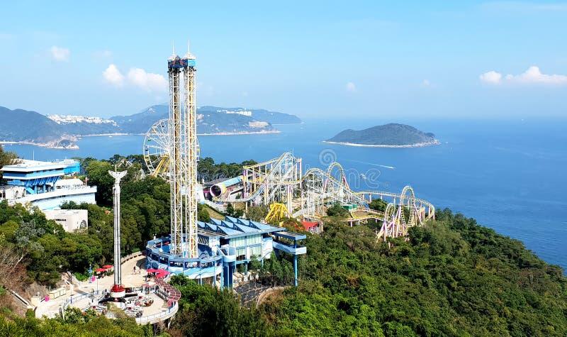Roller coaster ride in Ocean Park Theme Park, Hong Kong, Asia. April 2018 stock image