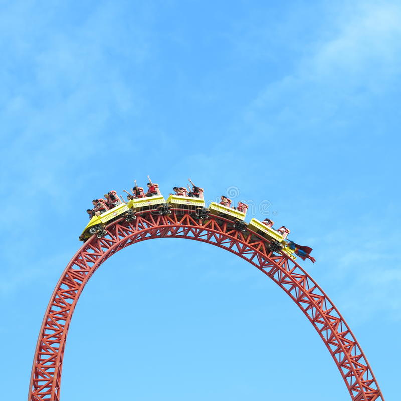 Roller coaster ride Superman Escape on top head. A launched roller coaster ride, the Superman Escape at Warner Bros Movie World in Australia, with the train stock photography