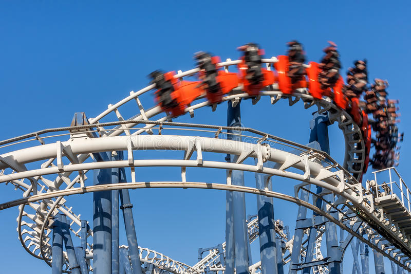 Roller coaster ride. royalty free stock photography